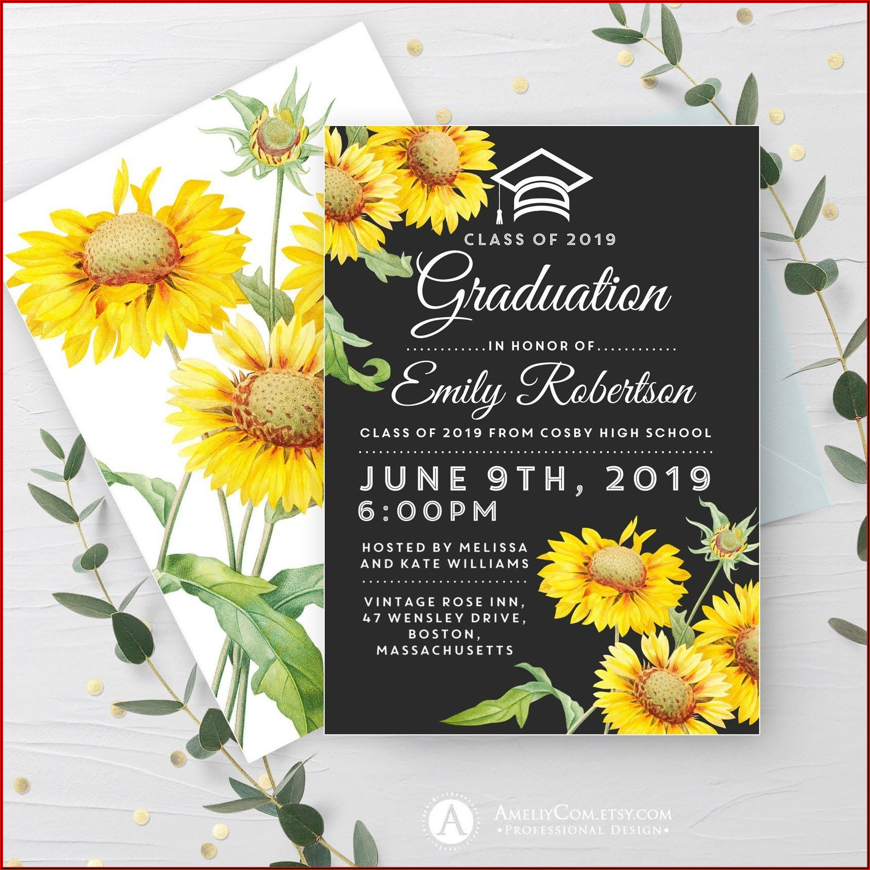 Sunflower Graduation Invitation Template