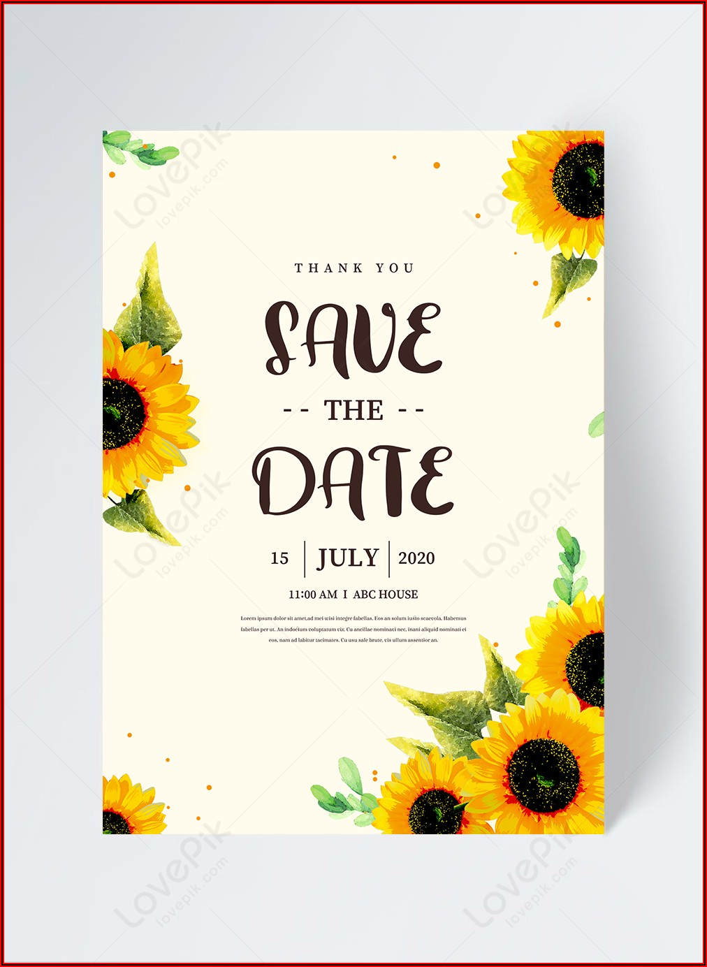 Sunflower Invitation Template Free