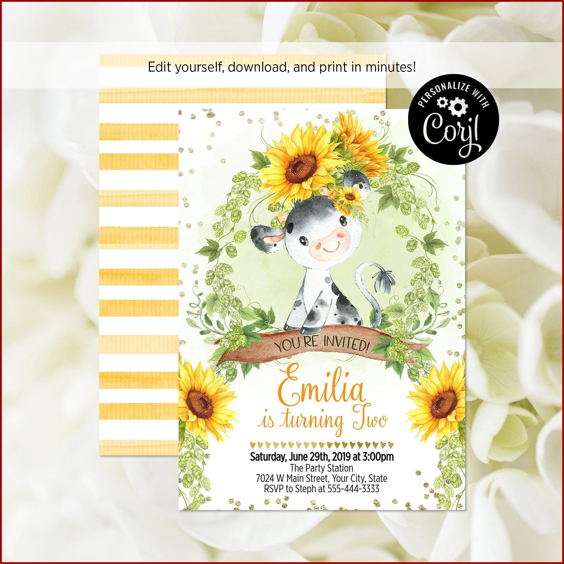 Sunflower Party Invitation Template