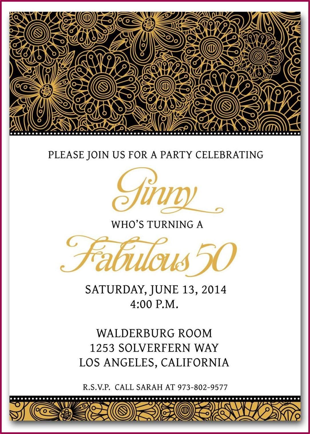 Surprise Birthday Invitation Samples