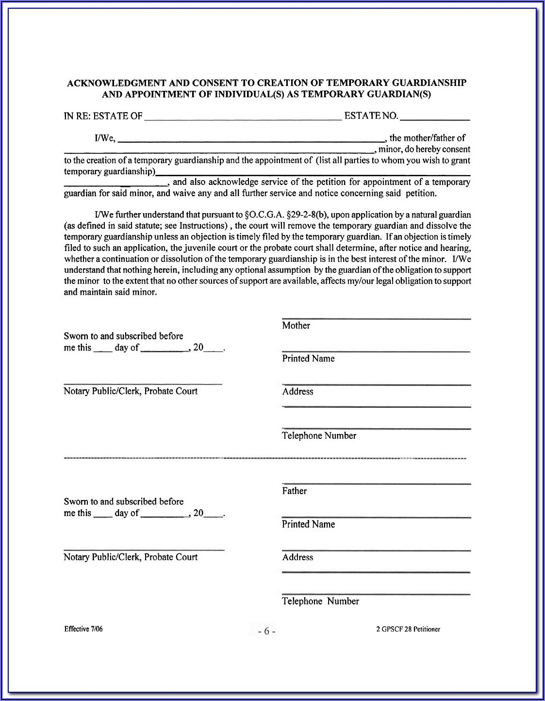 Temporary Guardianship Agreement Form Ny
