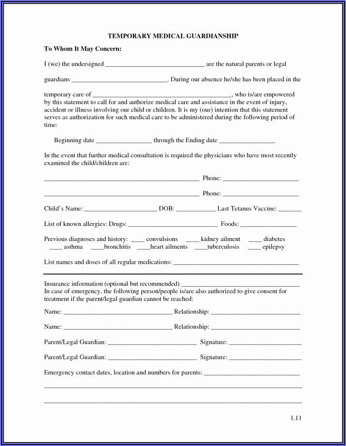 Temporary Guardianship Form Nys