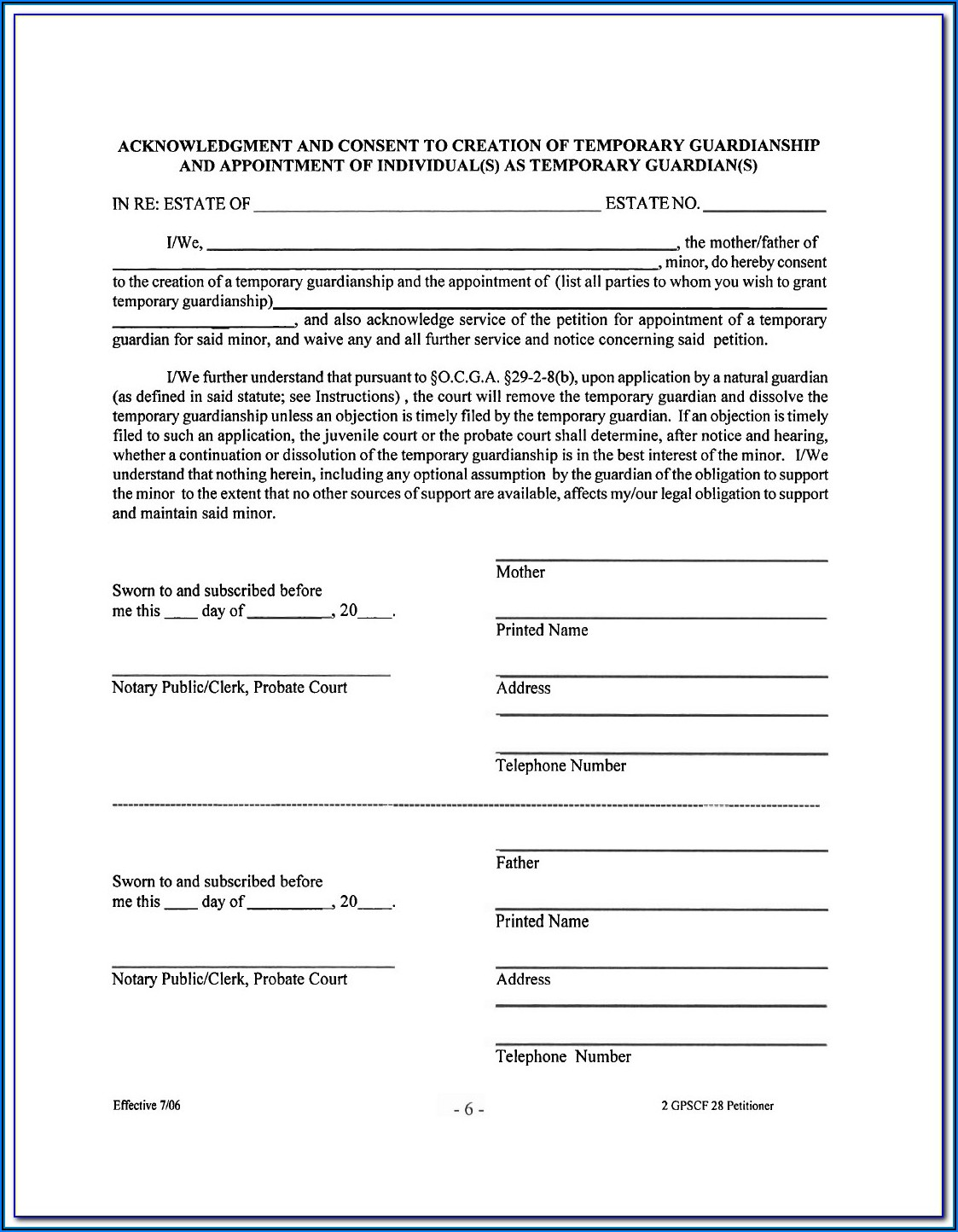 Temporary Guardianship Form Pa