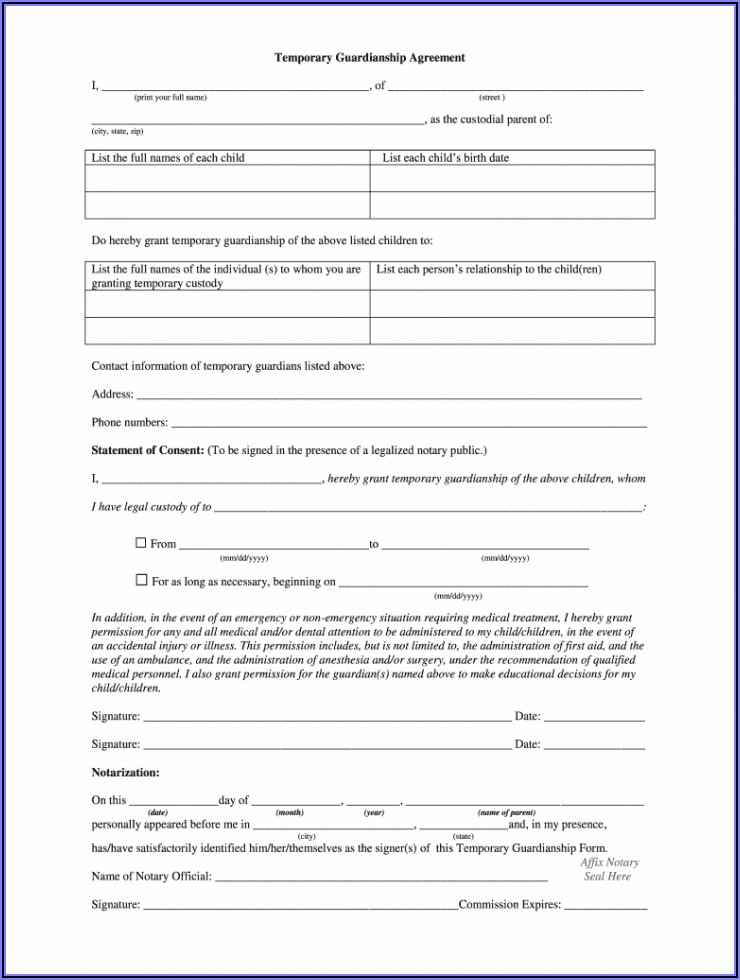 Temporary Guardianship Form