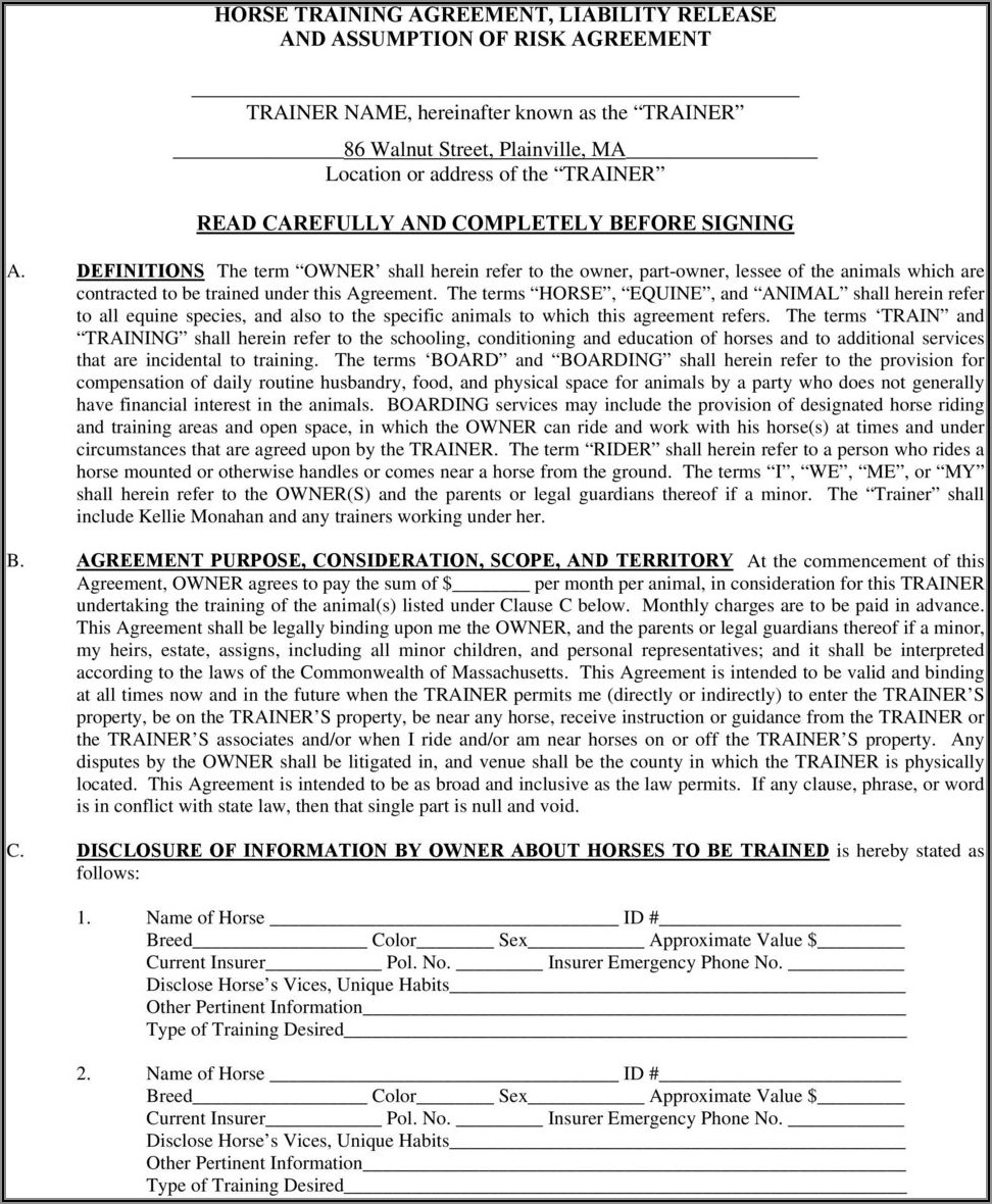 Texas Equine Liability Release Form