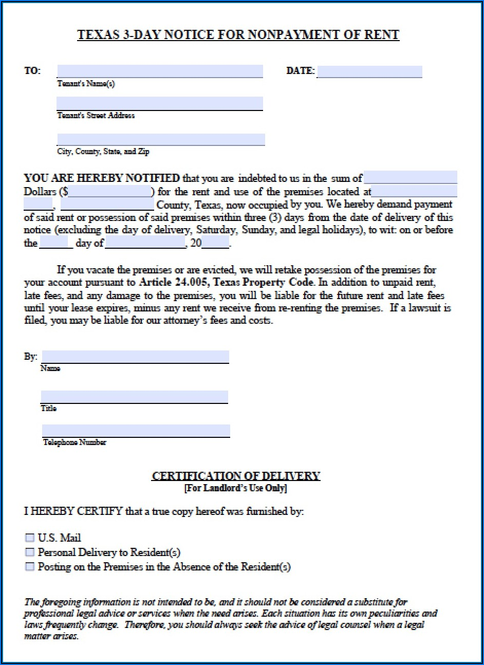 Texas Eviction Notice Form No Lease