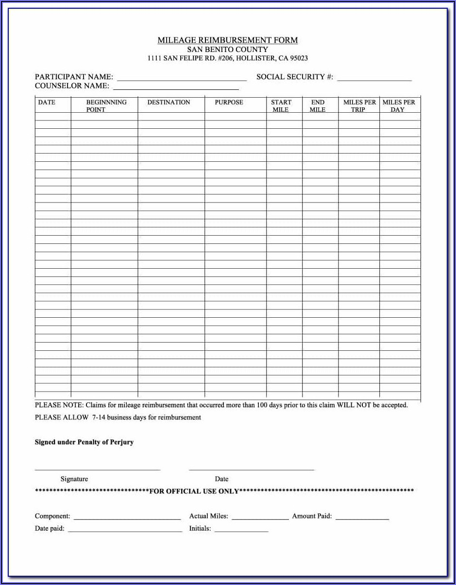 Texas Workers Comp Mileage Reimbursement Form