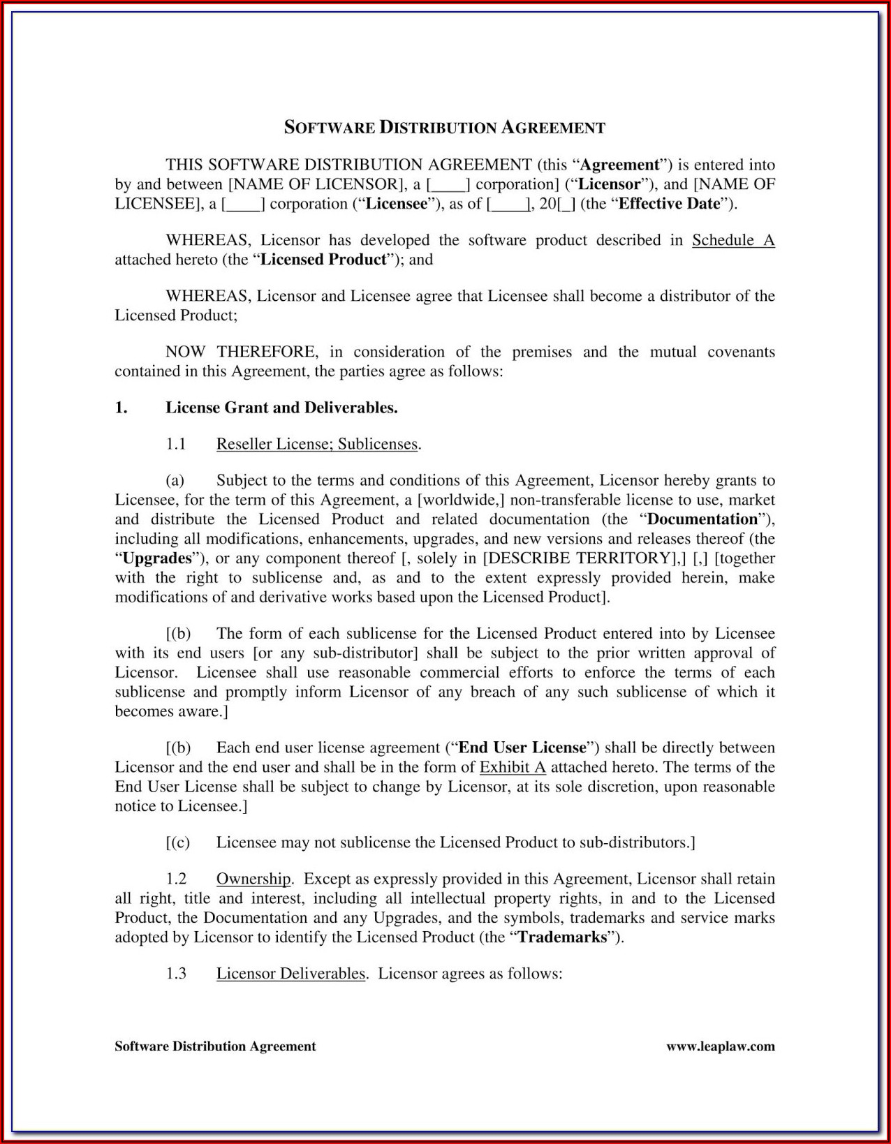 Trademark Sublicense Agreement Template