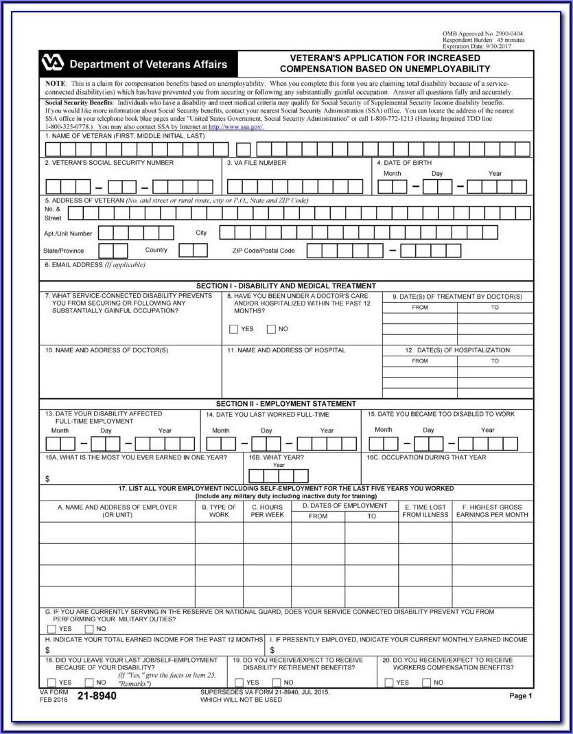 Va Disability Claim Form Online