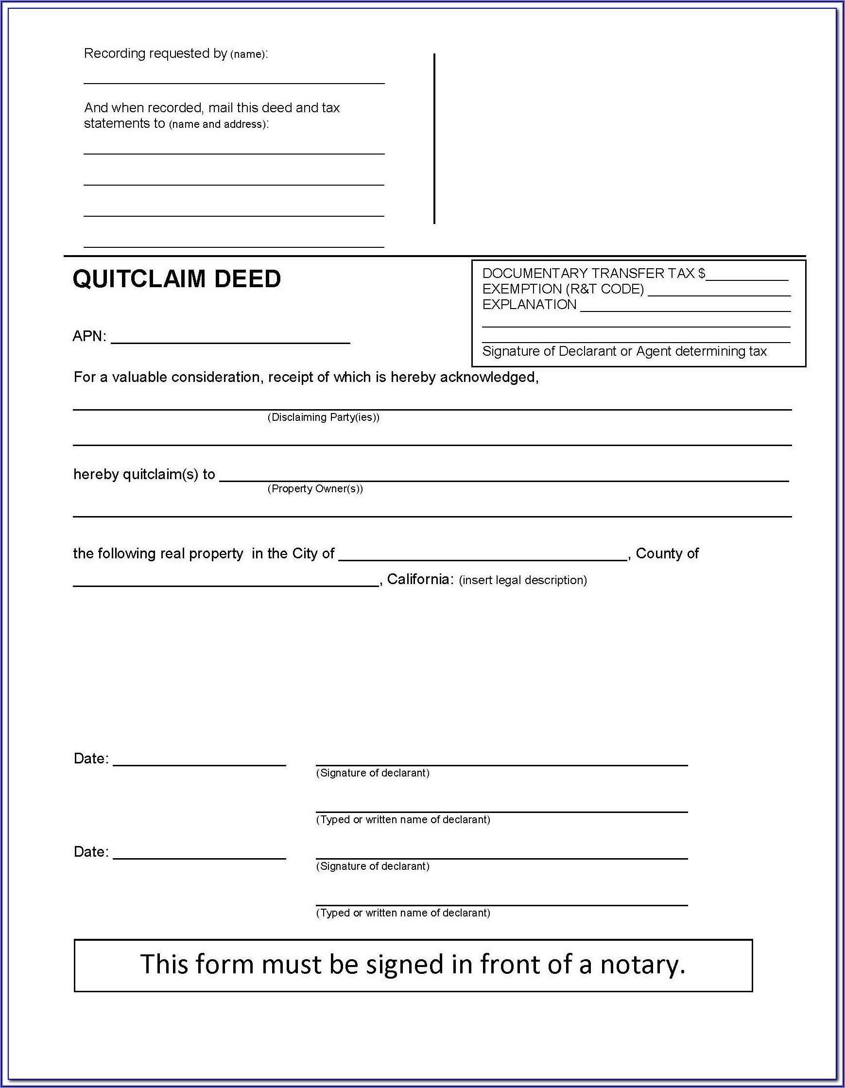 Warranty Deed Form Pdf California