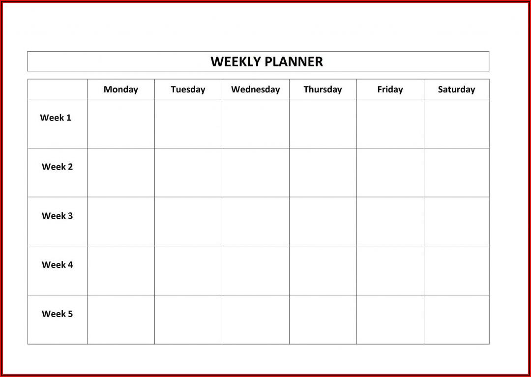 Weekly Work Plan Template Pdf