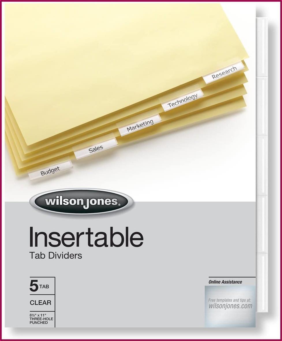 Wilson Jones Insertable Tab Dividers Template
