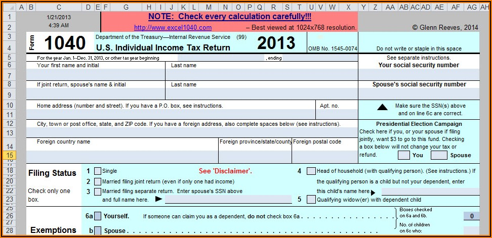 2013 Tax Form 1040ez