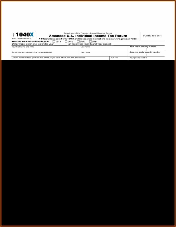 2014 Individual Tax Return Form
