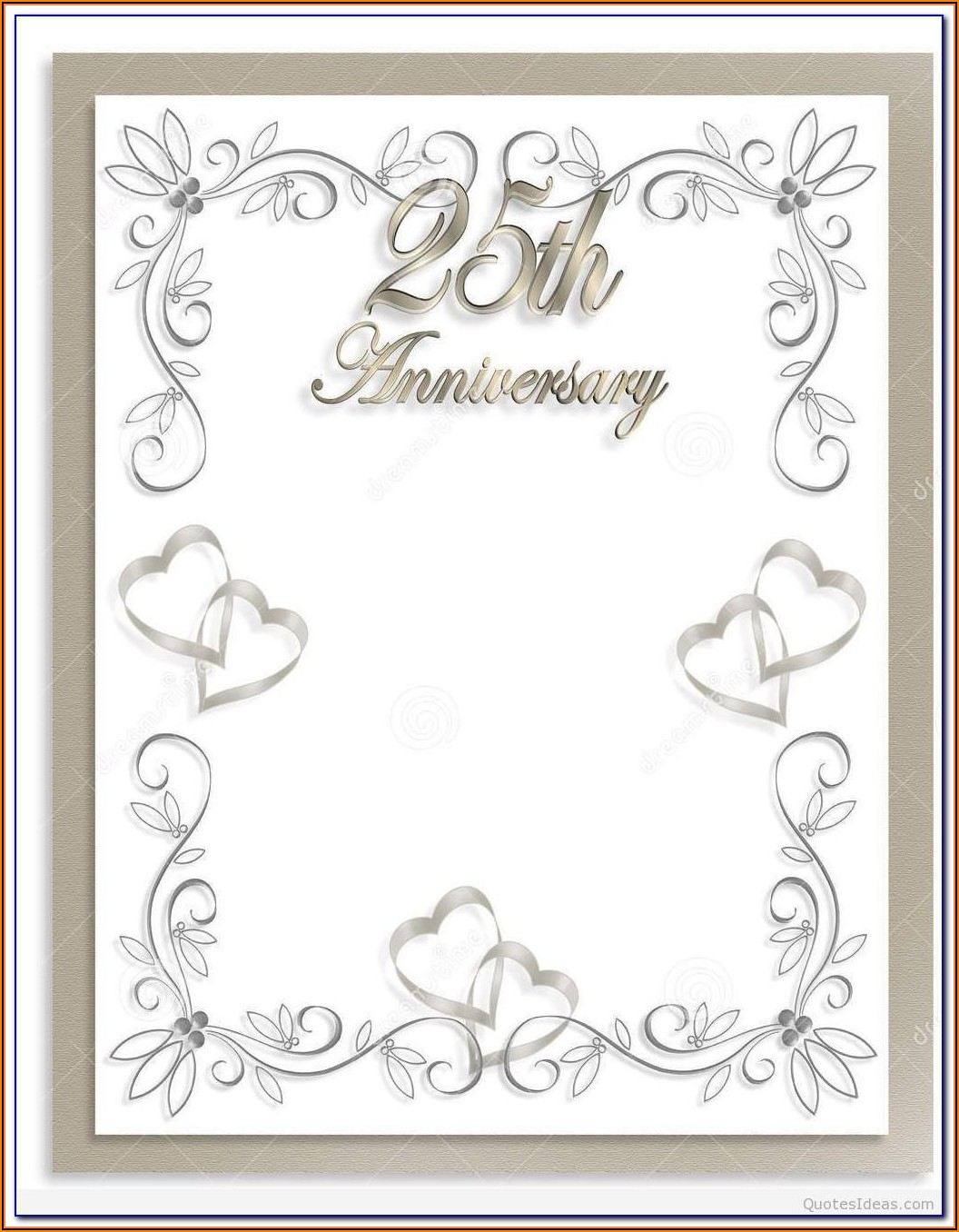 25th Wedding Anniversary Certificate Template
