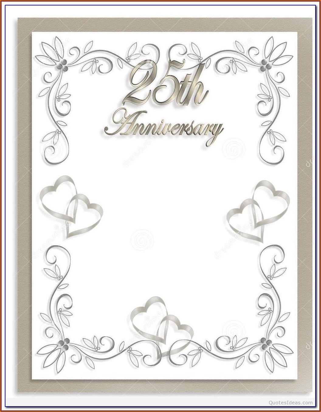 25th Wedding Anniversary Certificate Template