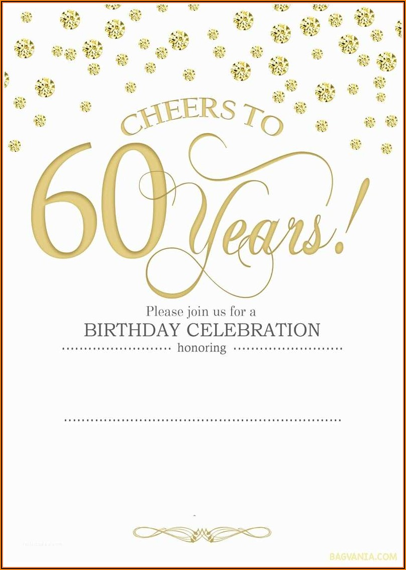 60th Birthday Invitation Template Free Download