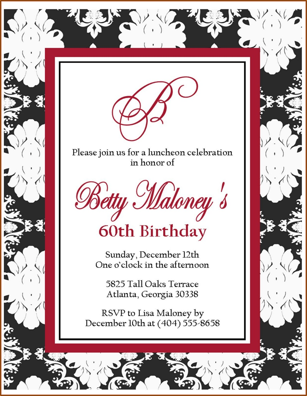 60th Birthday Invitation Templates For Her