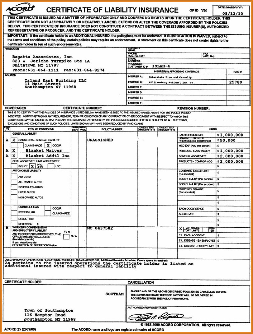 Acord 23 Insurance Form