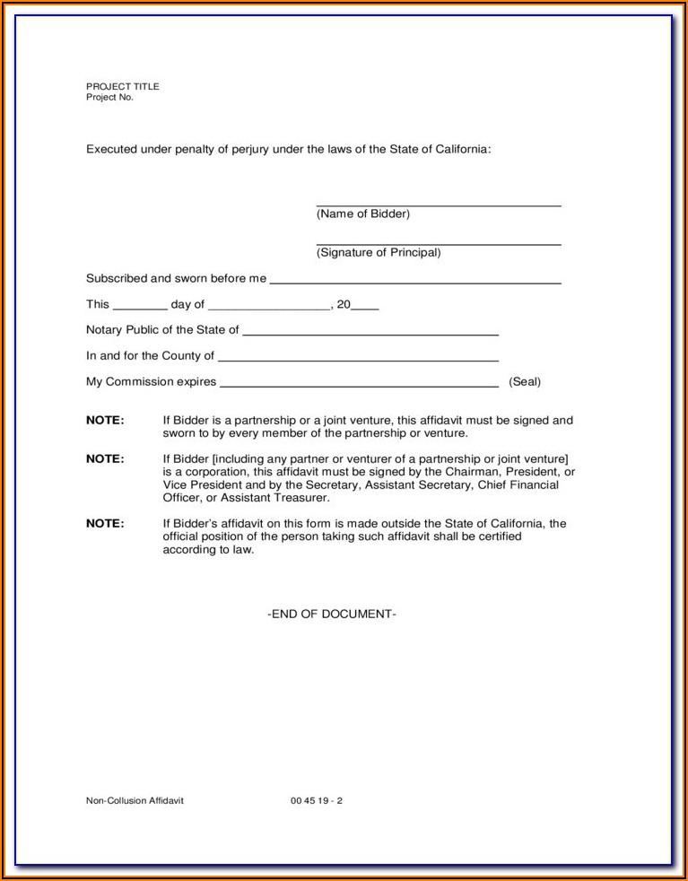 Affidavit Form California Free