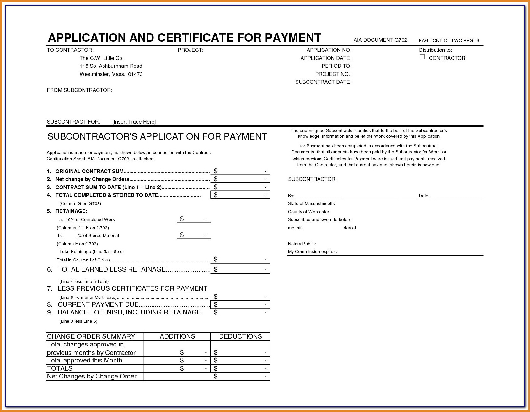 Aia Document G702 Free Download