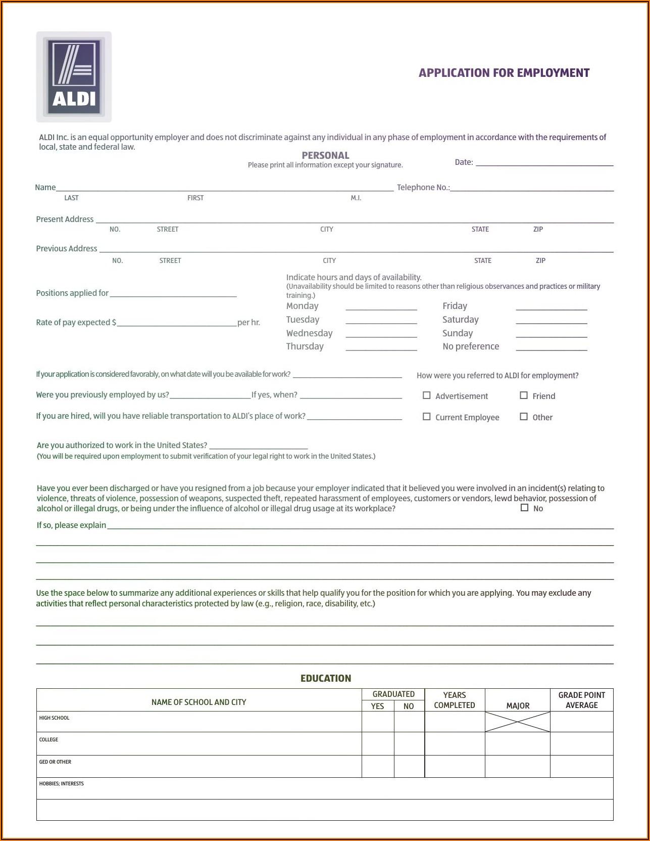 Aldi Store Job Application Form