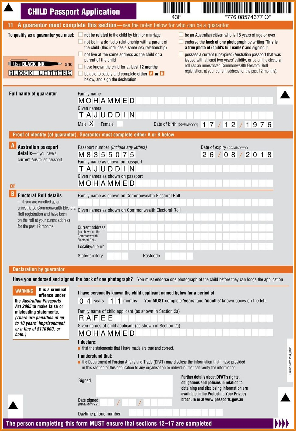 Application For Australian Passport Renewal Form