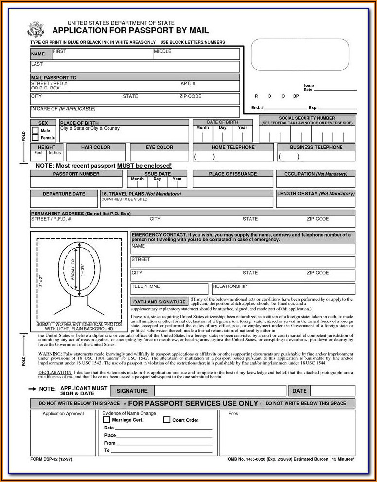 Application For Indian Passport Renewal Form