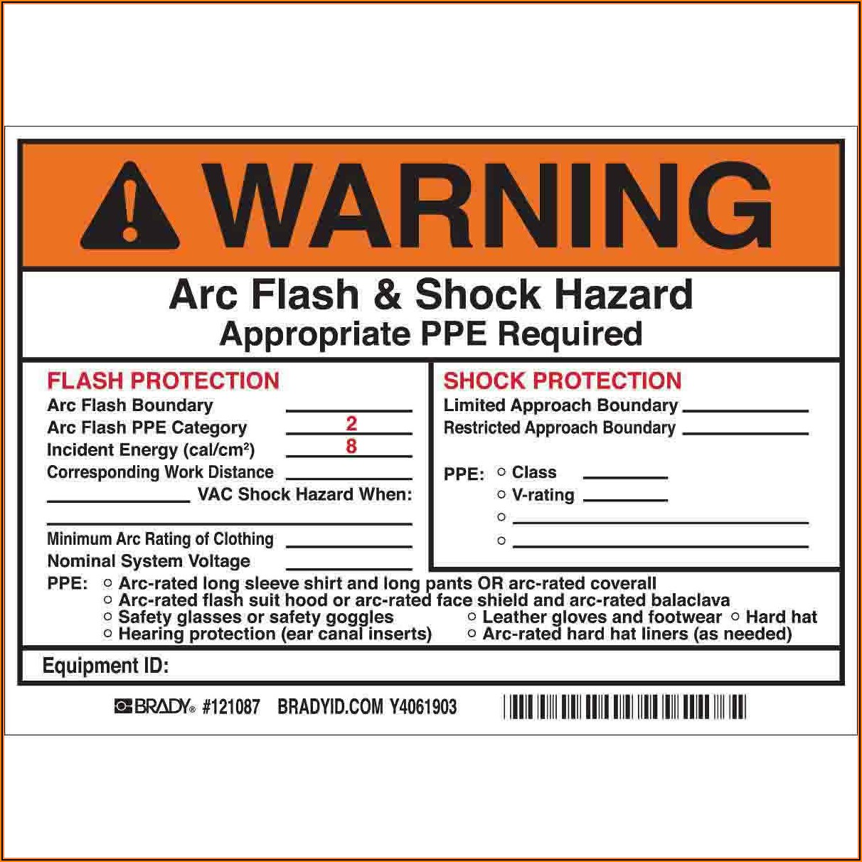 Arc Flash Label Template