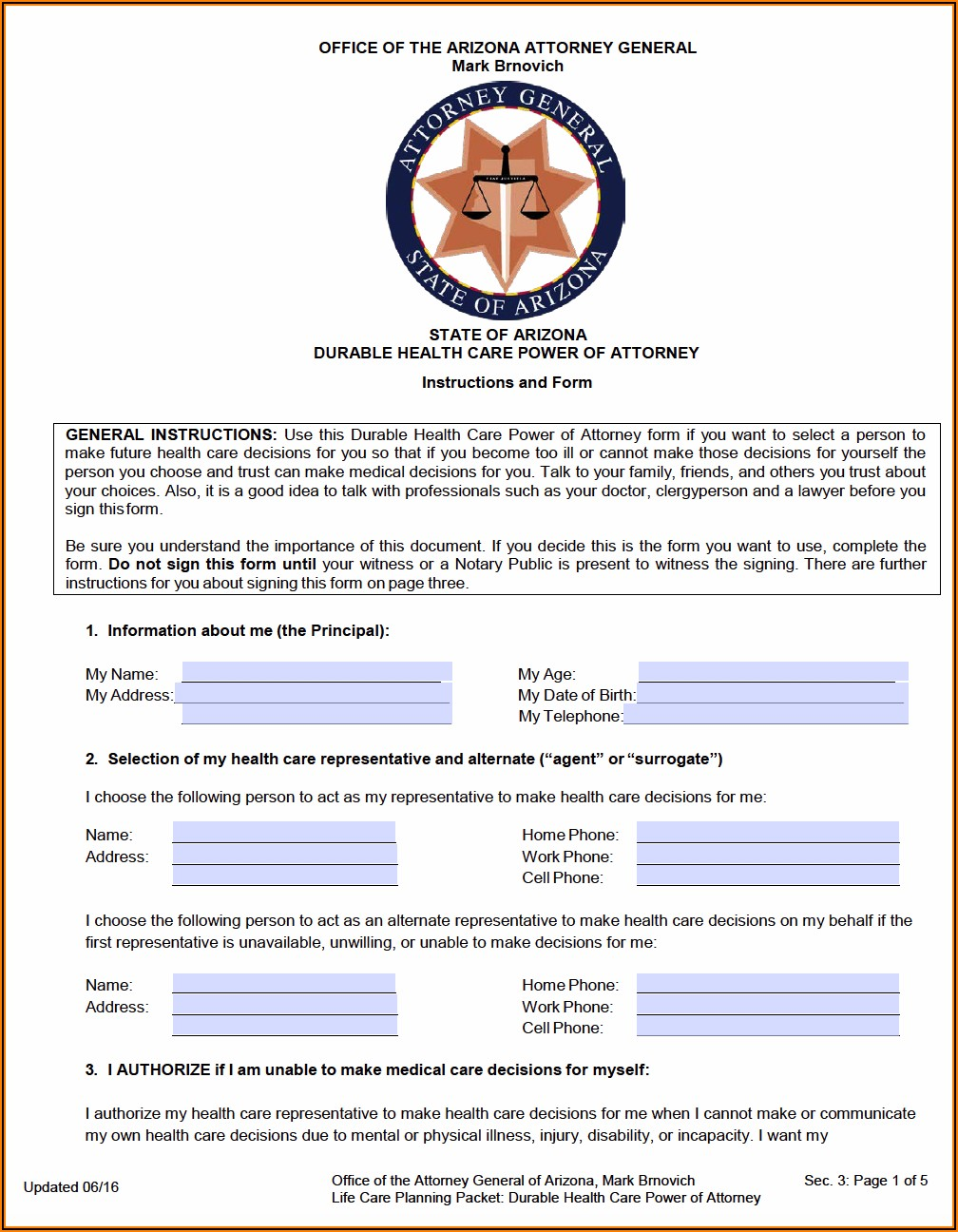Arizona Advance Healthcare Directive Form