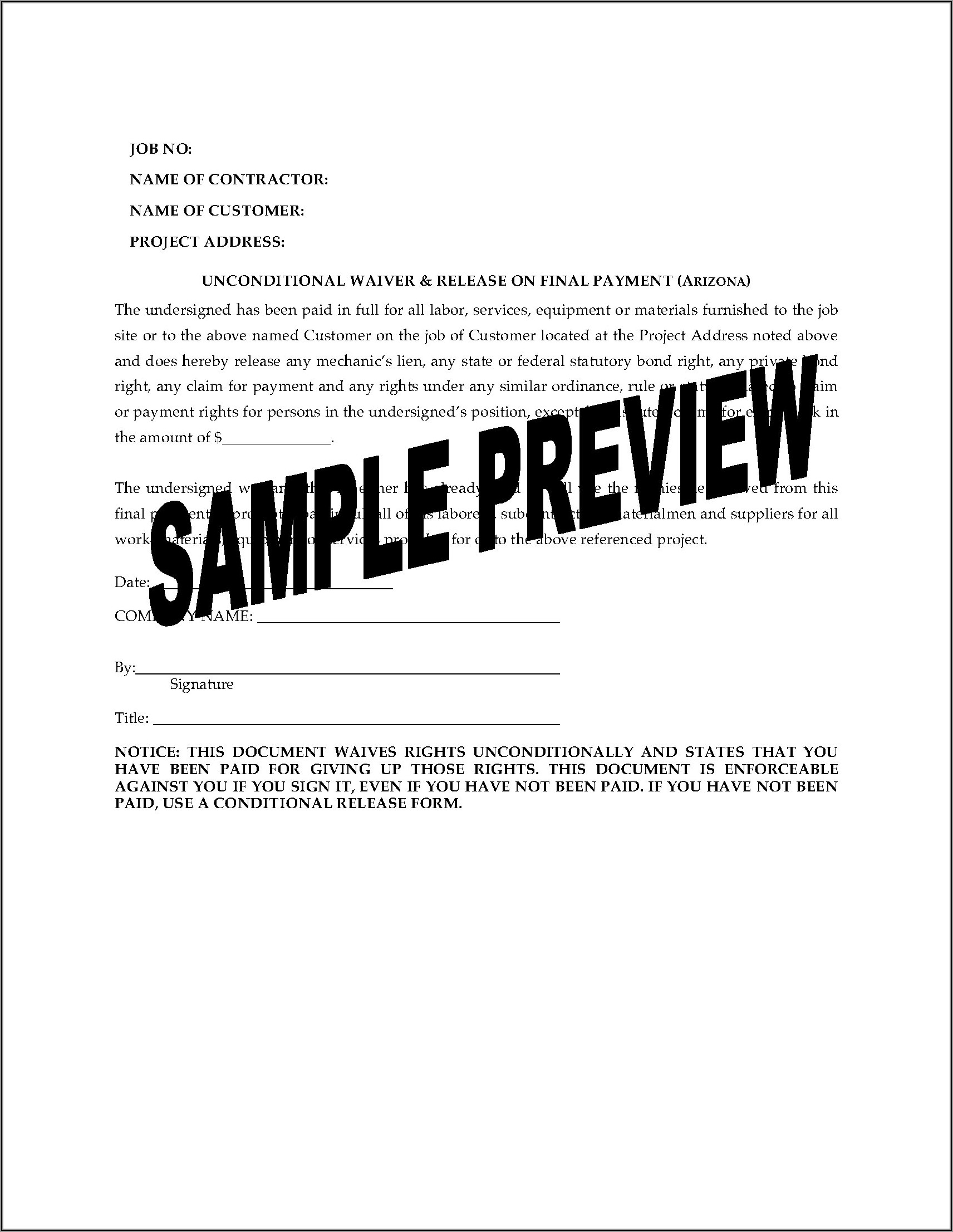 Arizona Lien Waiver And Release Forms