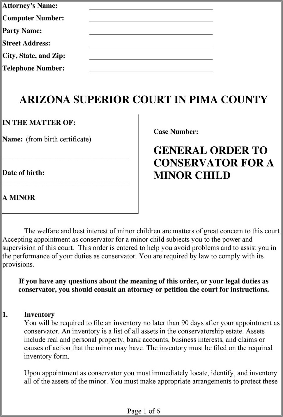 Arizona Power Of Attorney Form Pima County
