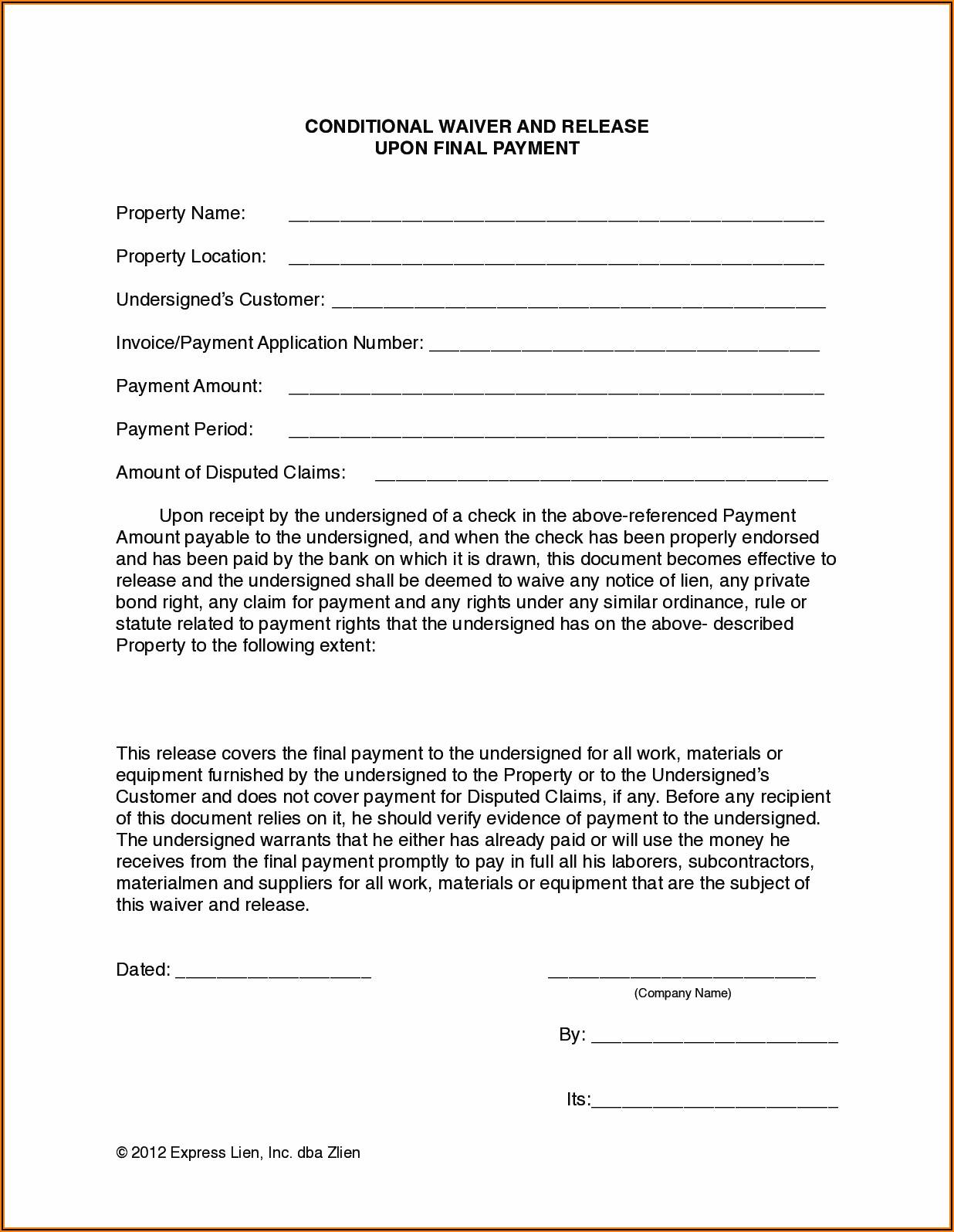 Arizona Statutory Lien Waiver Forms
