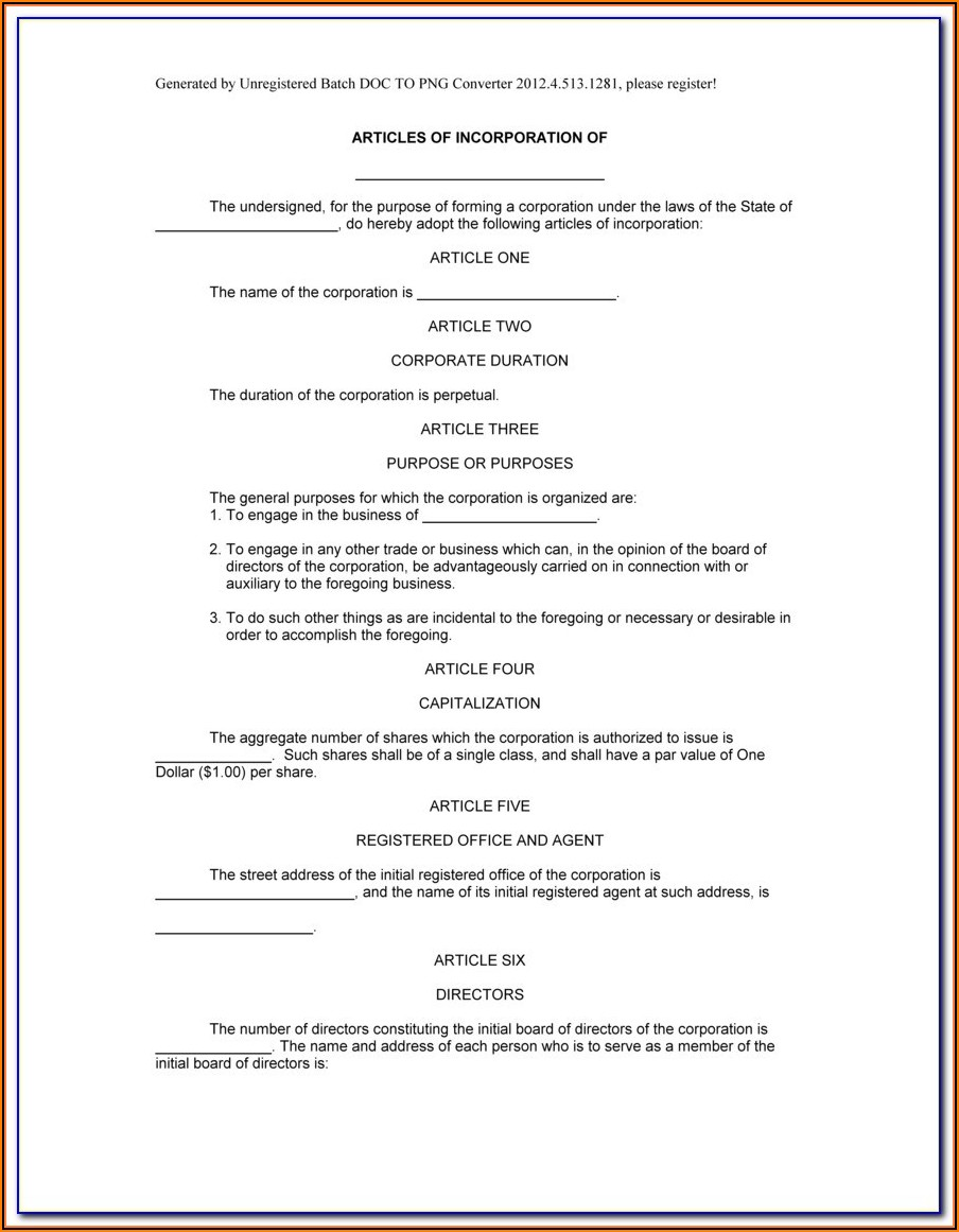 Articles Of Incorporation Llc Template