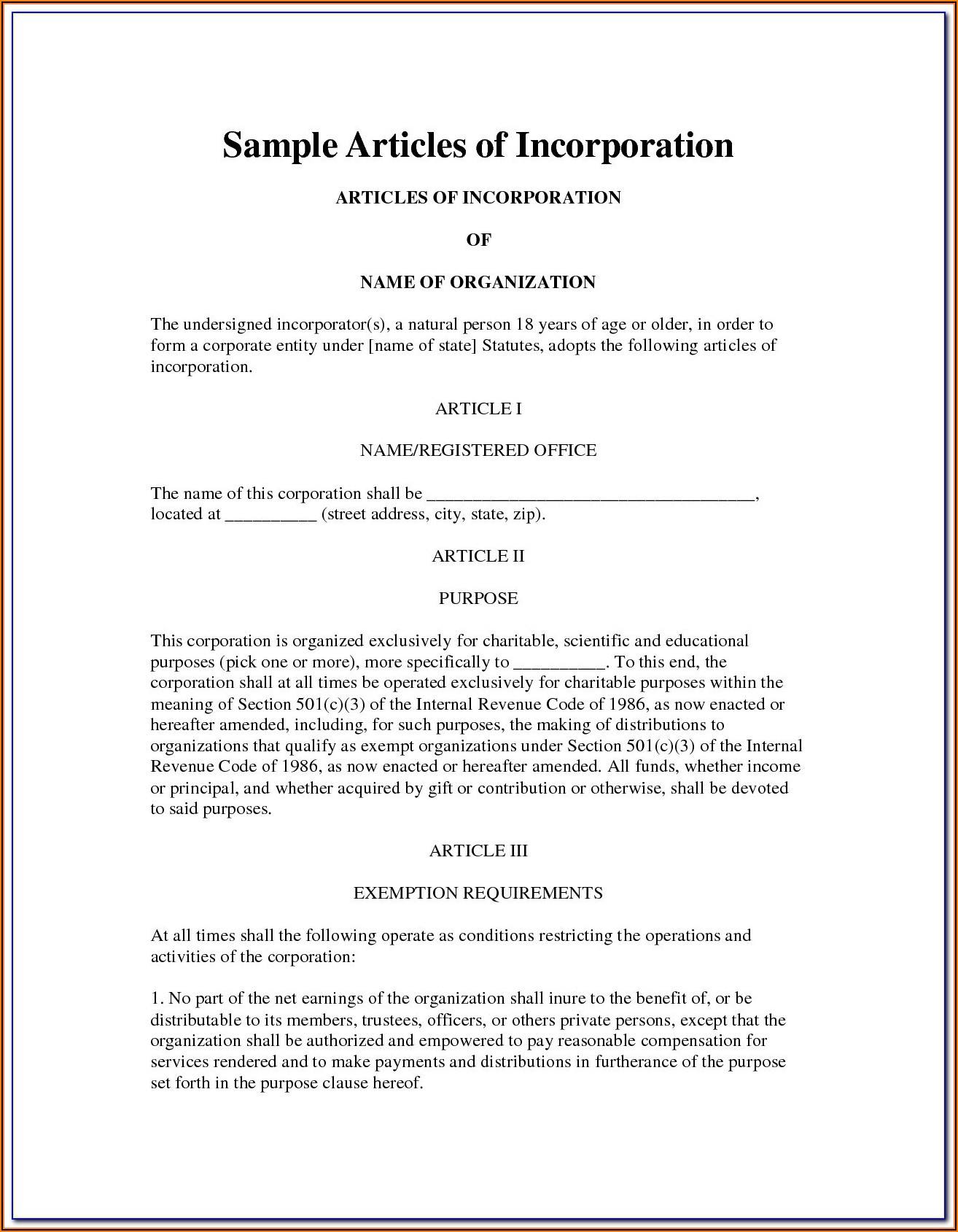 Articles Of Incorporation Llc Texas Template