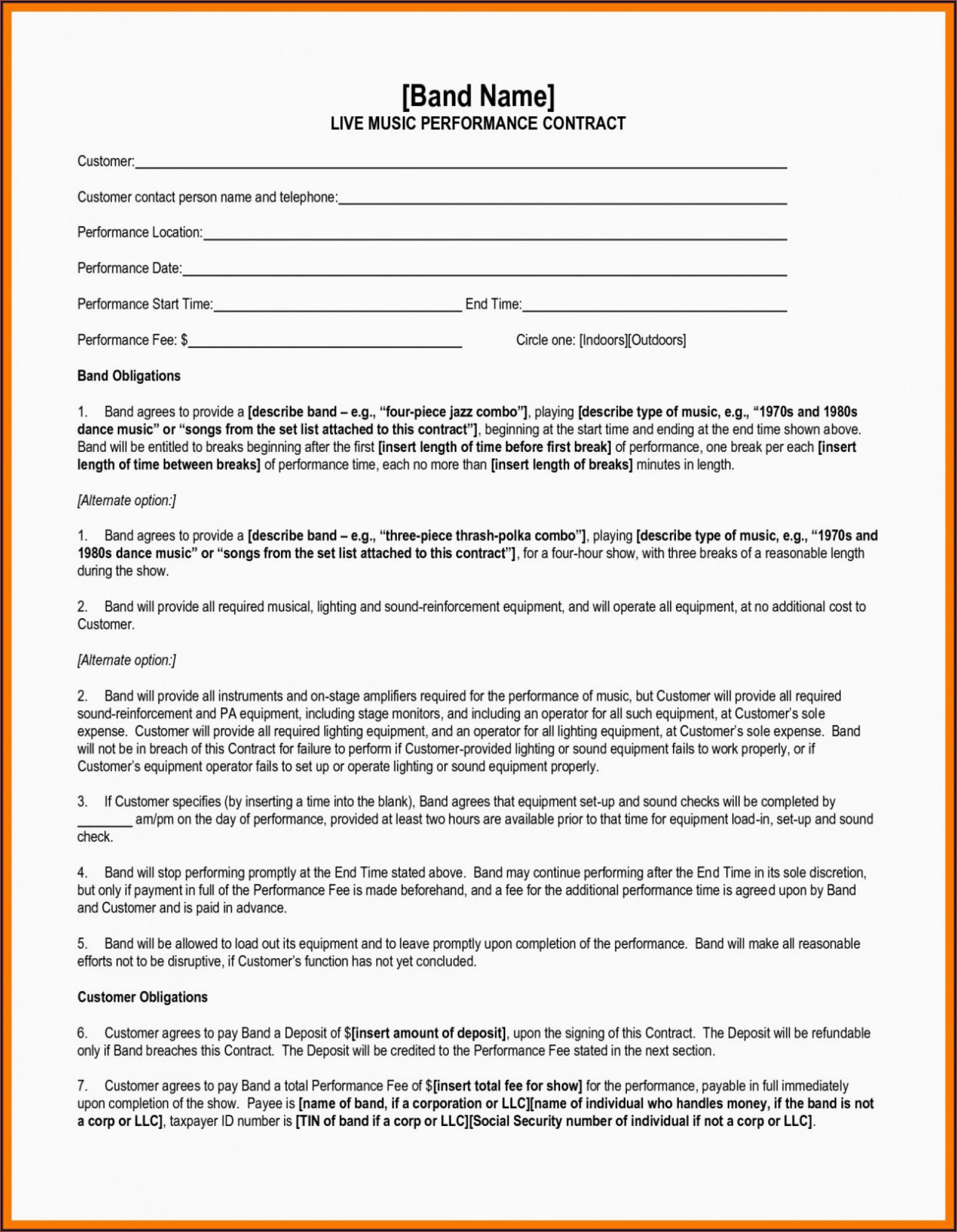 Artist Booking Contract Template Free