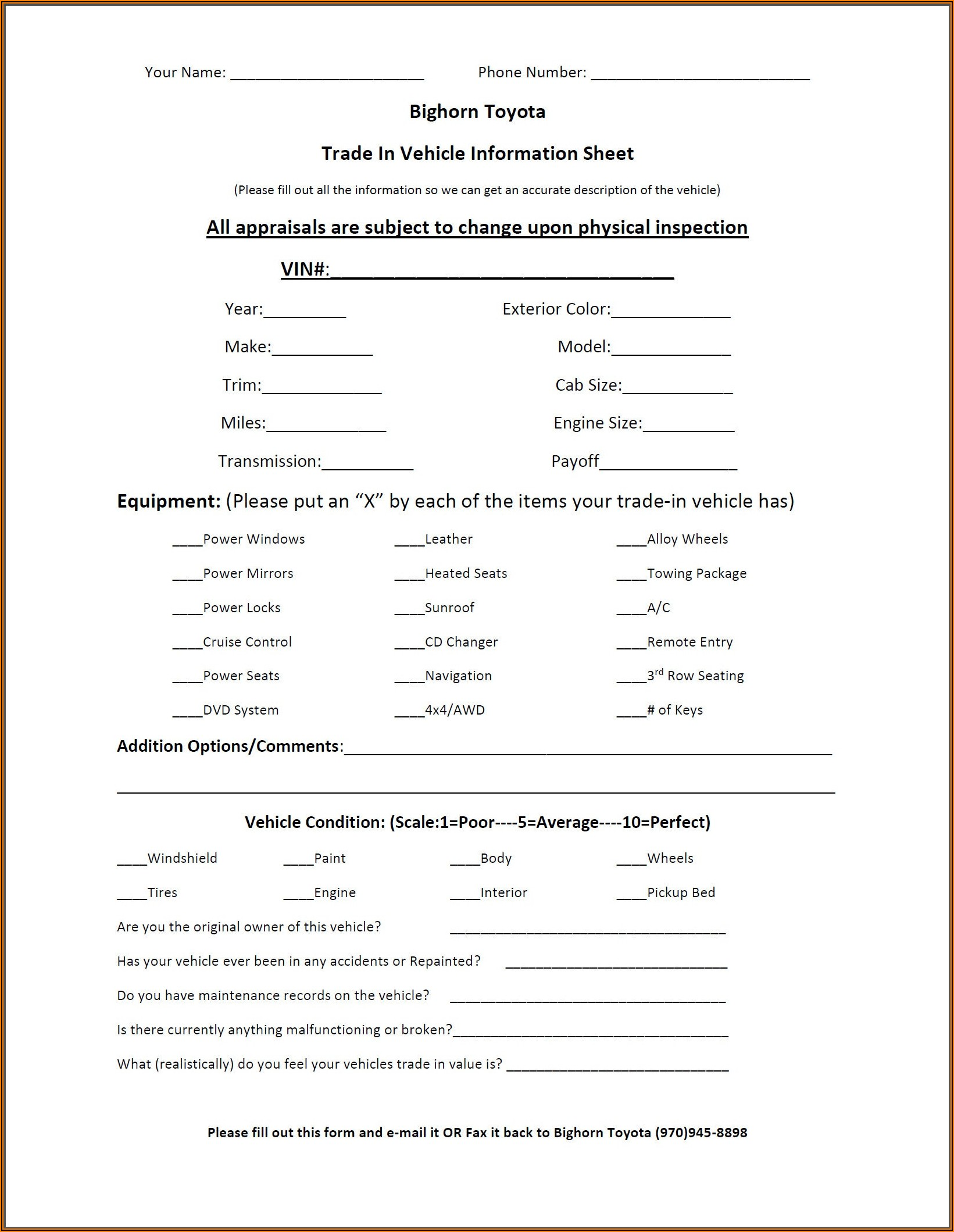 Auto Trade Appraisal Form