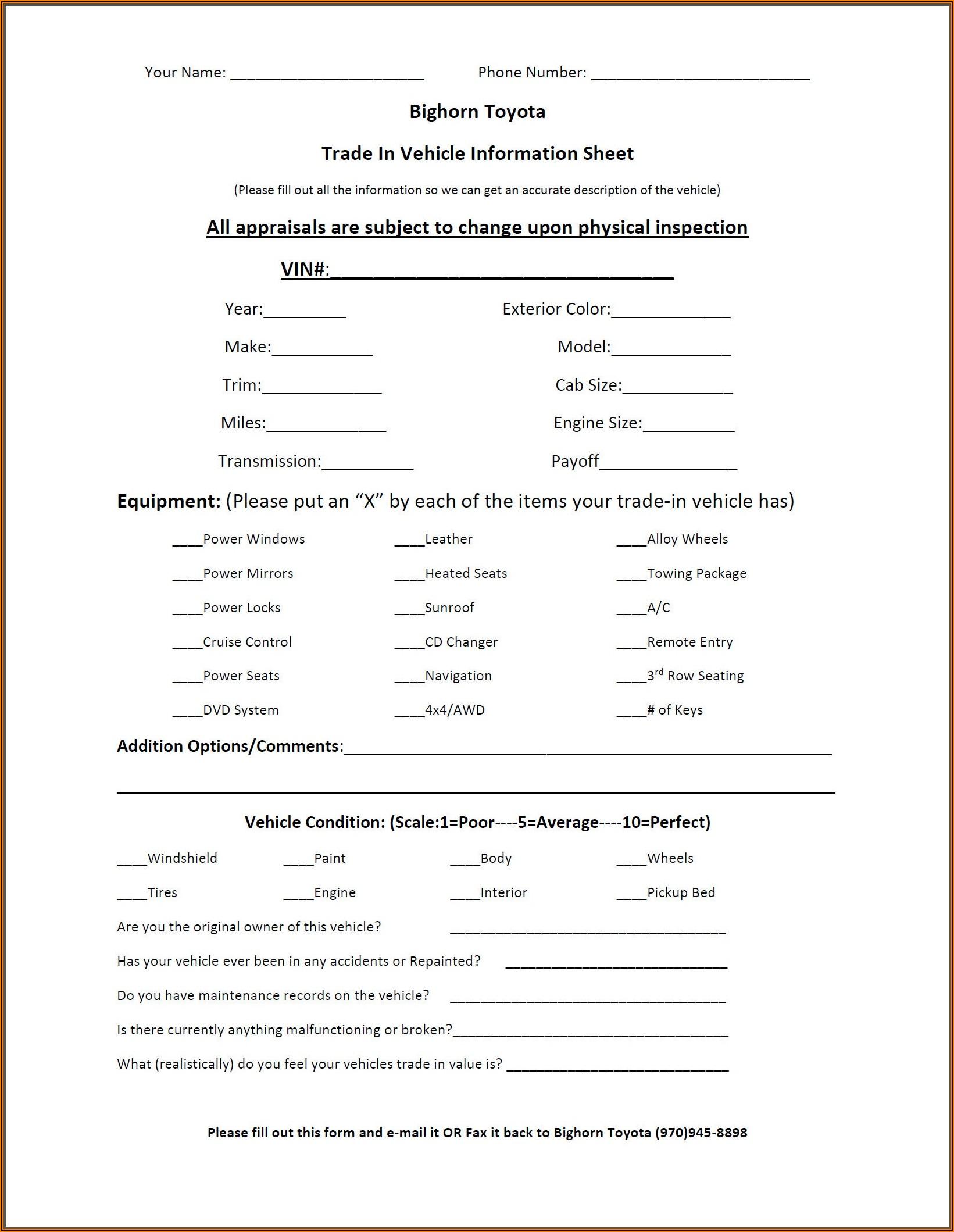 Auto Trade Appraisal Form