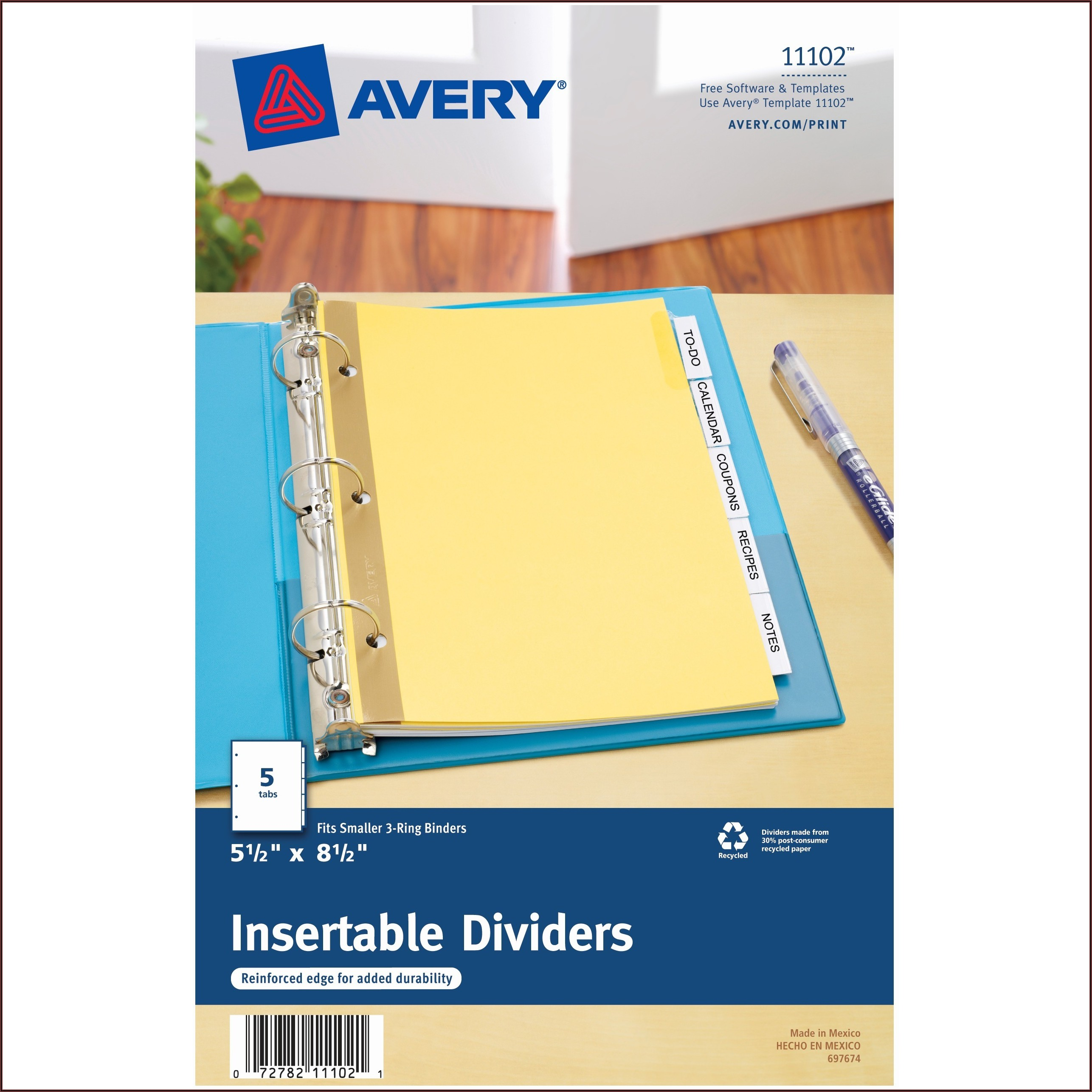 Avery 5 Tab Insert Template