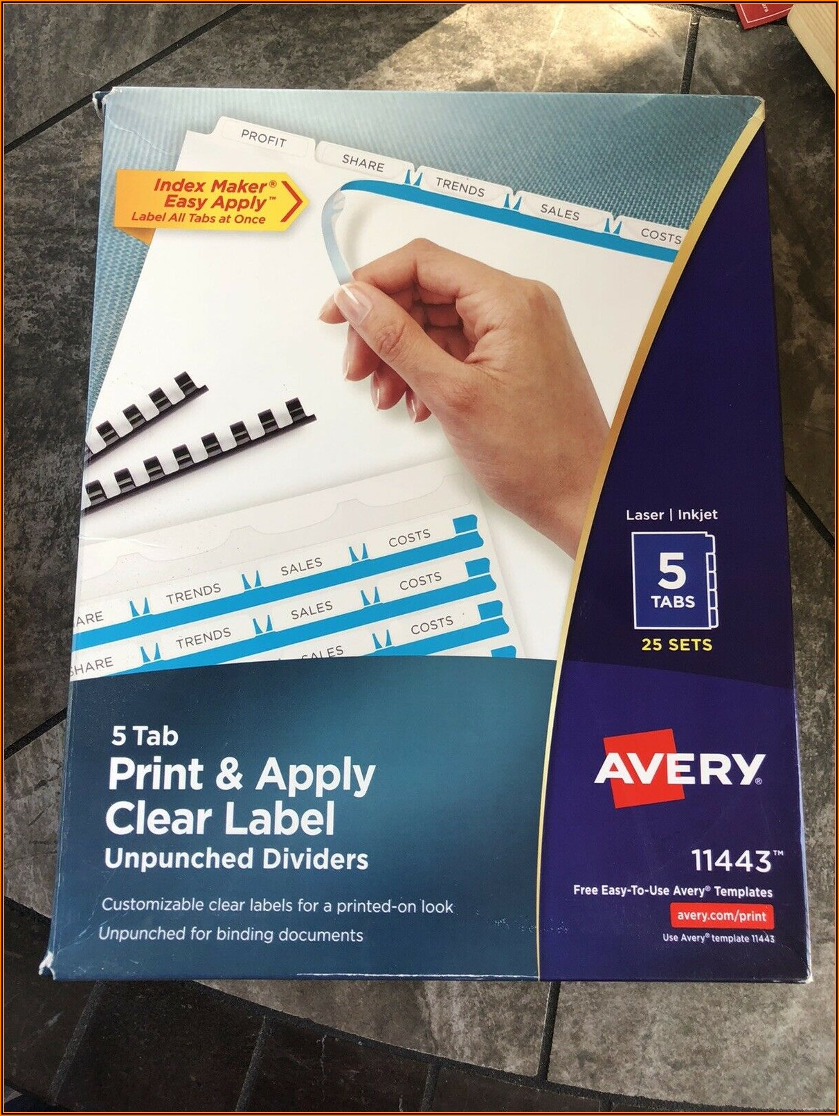 Avery Tabs Template 11443