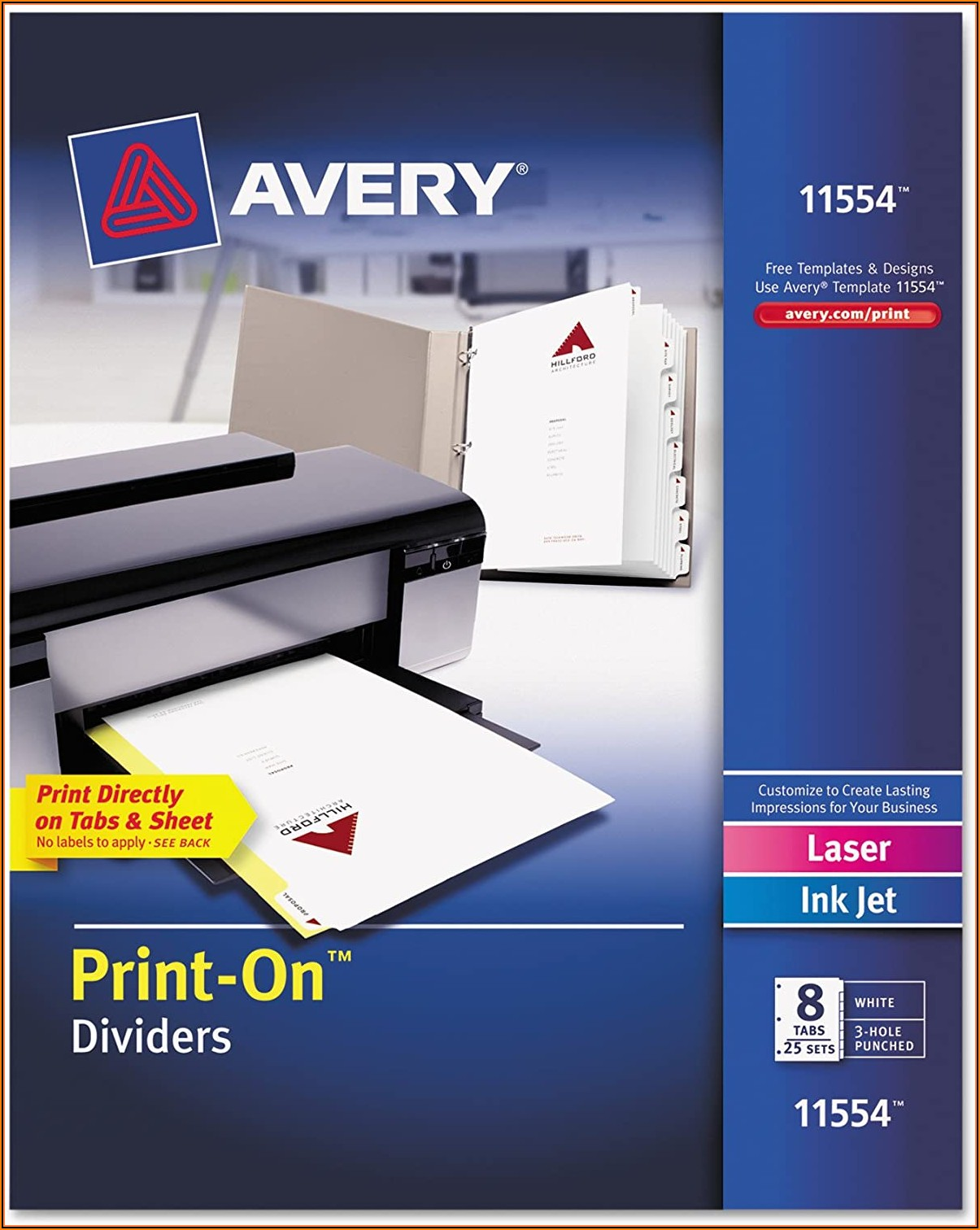 Avery Tabs Template 11554