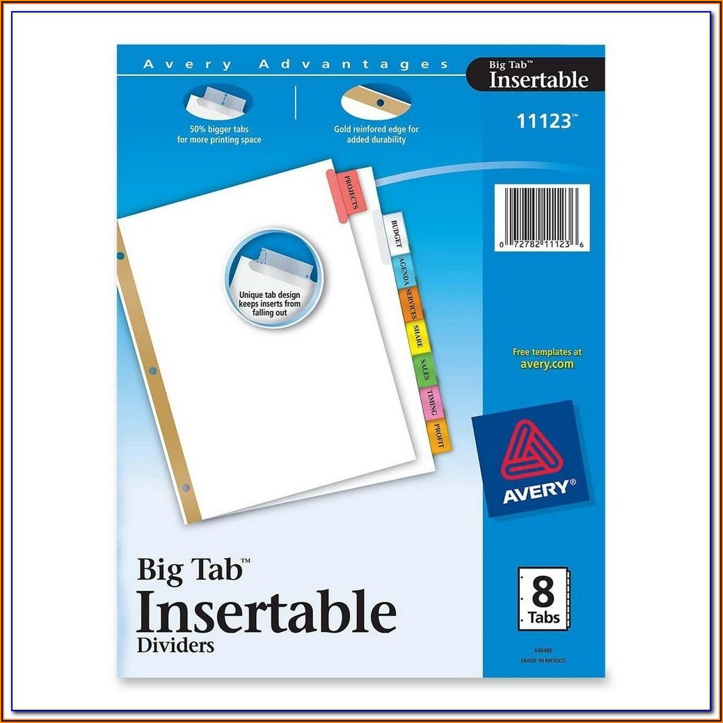 Avery Tabs Template 16280