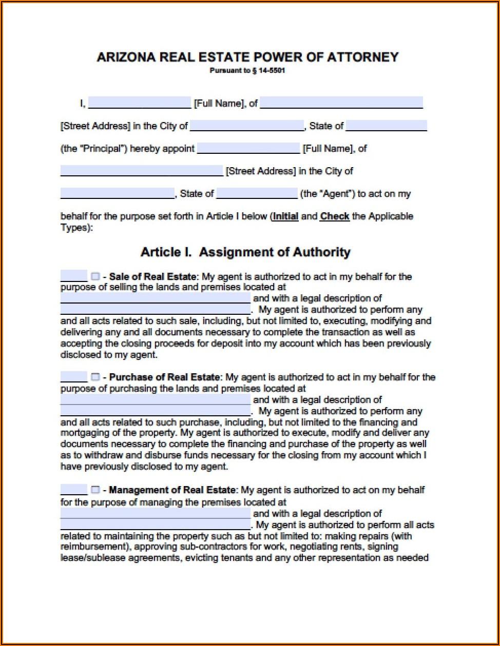 Az Medical Power Of Attorney Form