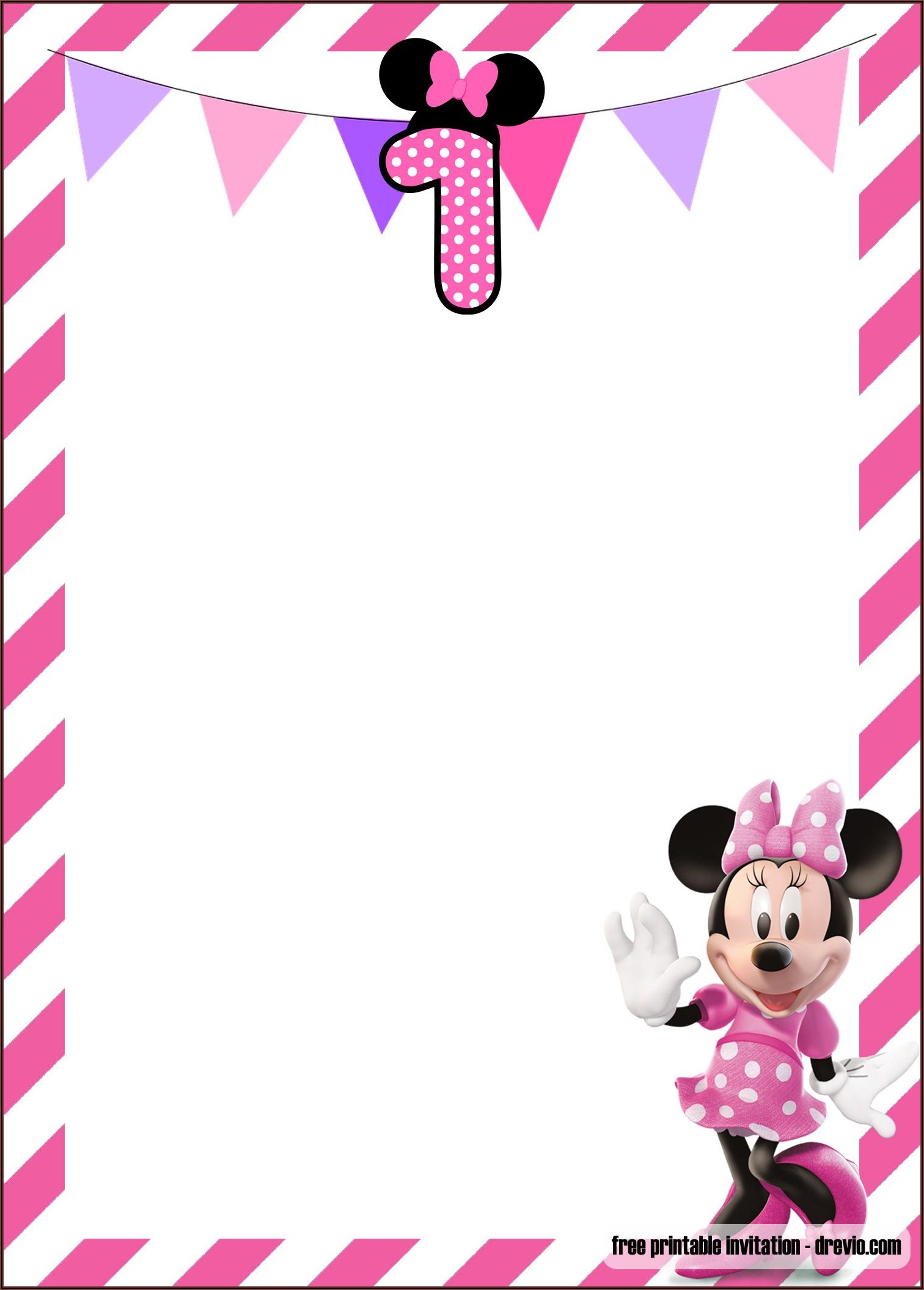 Baby Minnie Mouse 1st Birthday Invitations Templates