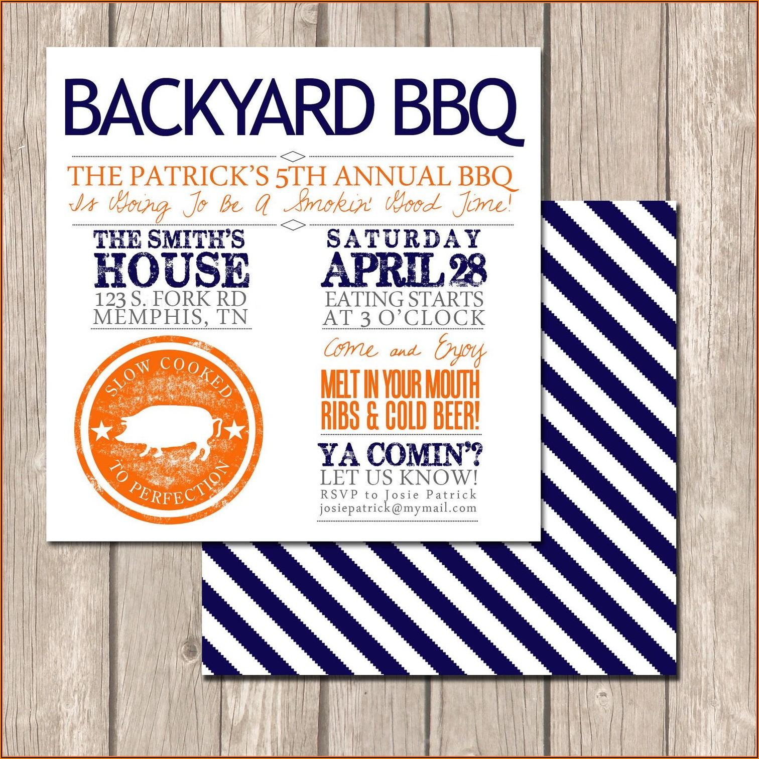 Backyard Bbq Invite Template