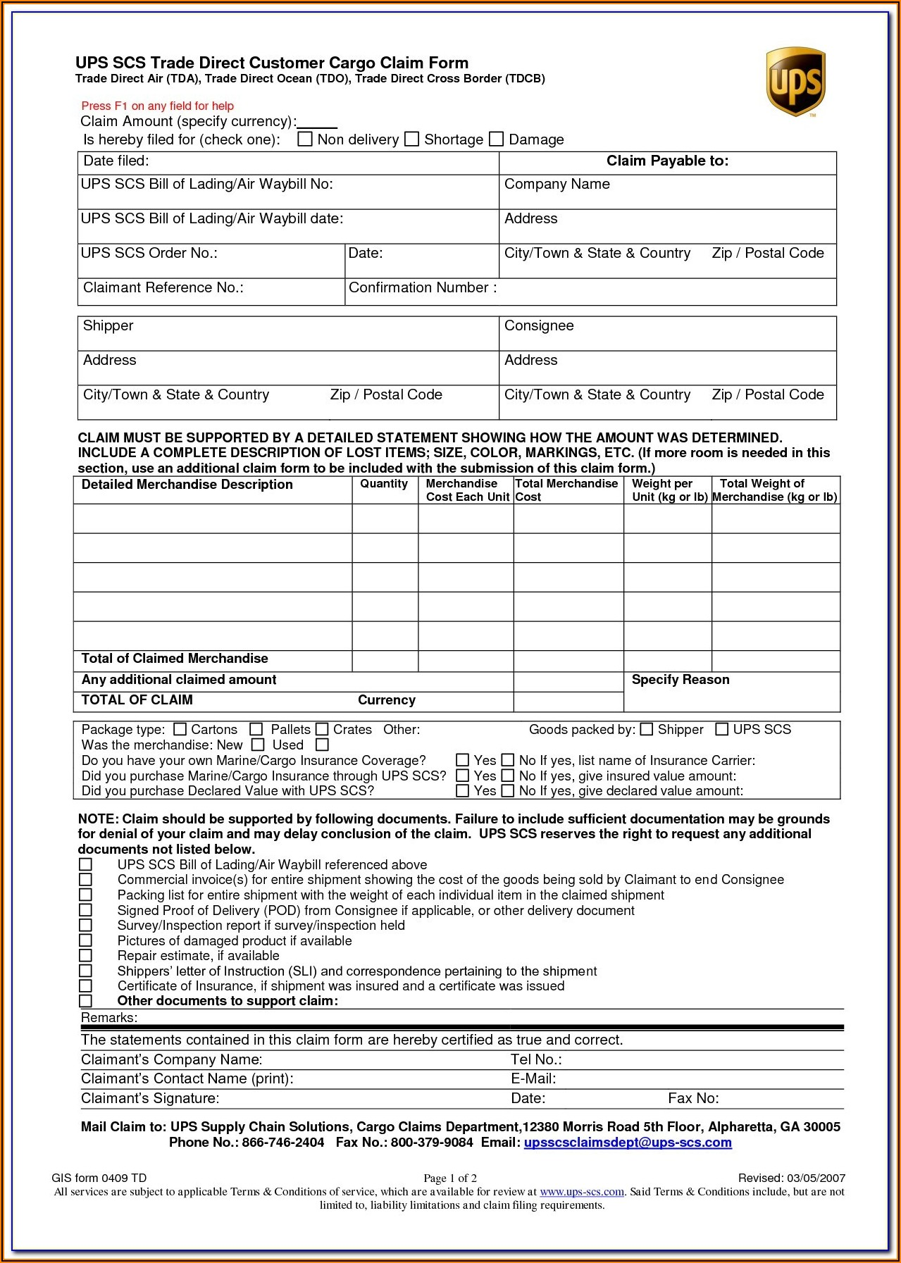 Baltimore Form C Bill Of Lading