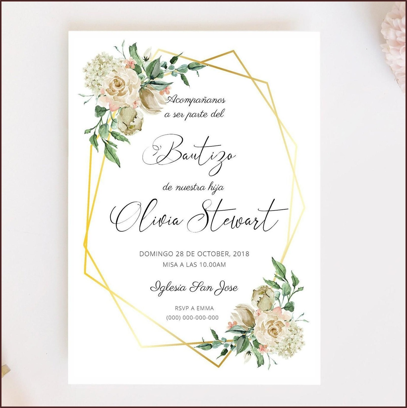 Baptism Invitation Template In Spanish