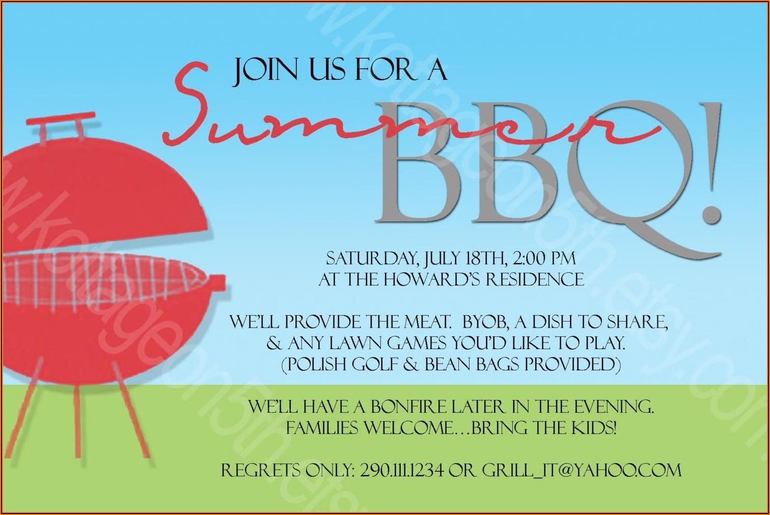 Bbq Invite Samples