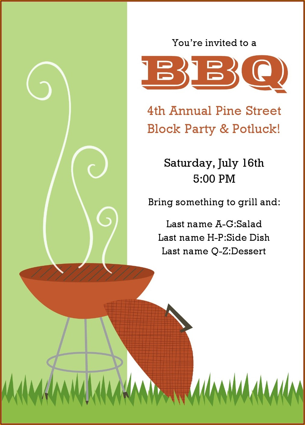 Bbq Invite Template Word Free