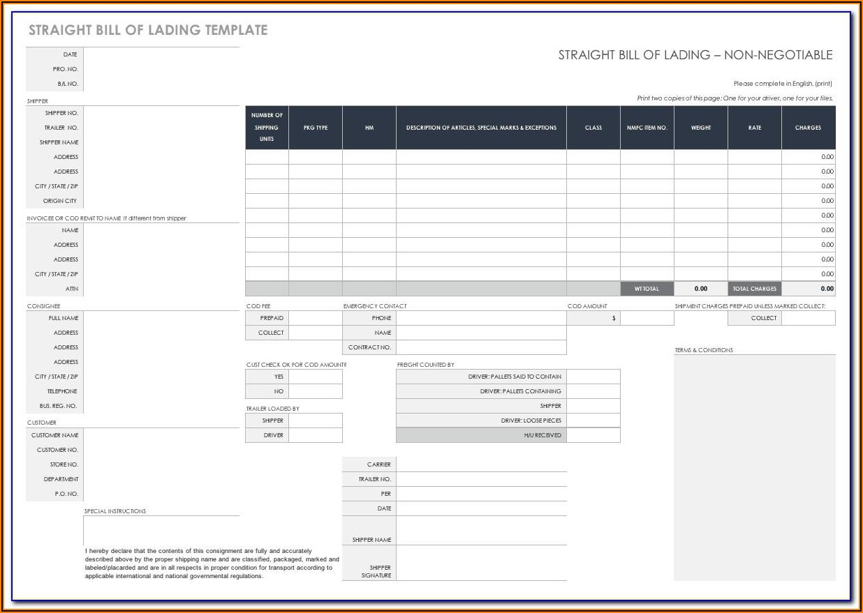 Bill Of Lading Form Ups